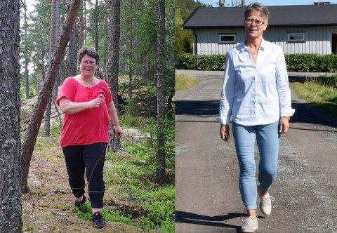 TURGÅER: Da vekta viste 120 kilo var det tungt å gå på tur. Nå veier Ann-Kristin 68,5 kilo og er veldig aktiv.