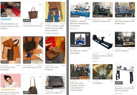 POPULÆRE SØK: Screenprint av to vilkårlige søk på Louis Vuitton og dreiebank fra finn.no. Skjermdump: finn.no