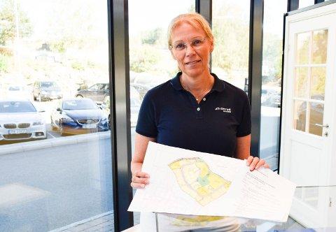 STORKJØP: Utviklingsdirektør Ellen Grønlund og Tronrud Eiendom har kjøpt en over 150 dekar stor eiendom på Jevnaker for å bygge boliger. Denne kartskissen viser Kongehaugen, og der skal arbeider starte på nyåret.