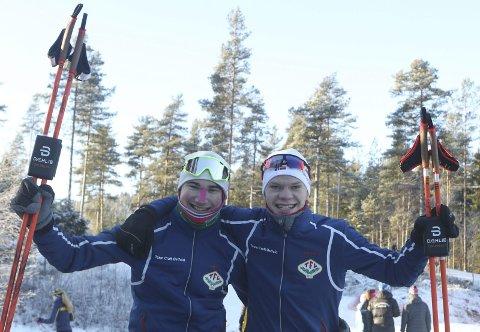 MEGET STERKT: Johan Unneberg (til venstre) og Filip Glittenberg Holt var langt framme blant førsteårsjuniorene i norgescupstarten. Begge foto: Erik Borg