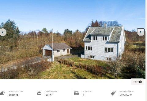 Denne eiendommen nord i Haugesund ønsker Rogaland fylkeskommune/Haugalandspakken å selge.   (Skjermbilde fra www.h-avis.no/vis/eiendomtilsalgs)