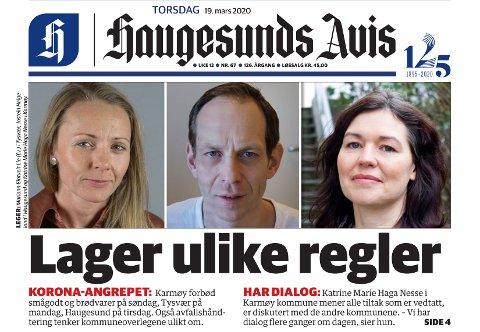 FAKSIMILE: Haugesunds Avis torsdag 19. mars.