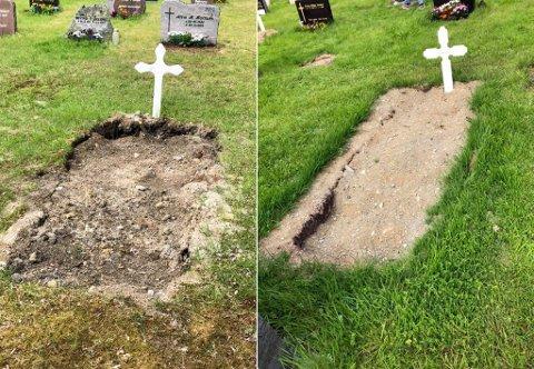 NEDSUKNE: Flere av gravene på kirkegården var sunket ned i jorden uten at det var fylt på med mer jord.