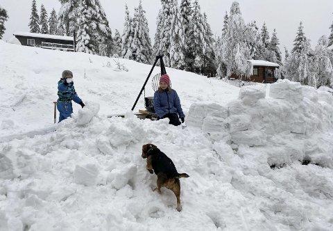 SNØBORG: Mye moro og mye snø for Nora Kveen Hyllseth (9) og Brynjar Kveen Hyllseth (8). Foto: privat
