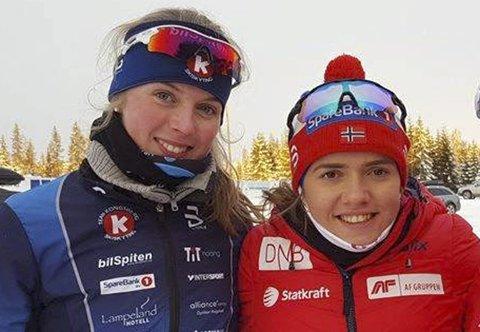 VANT NORMALDISTANSEN: Nora Dokken Berget (t.v.) og Mari Wetterhus vant normaldistansen i henholdsvis K19 og K20 tom Senior på Simostranda lørdag.