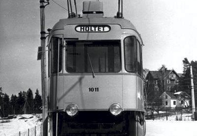 Ekebergbanen 100 år: Bildet er tatt på Bråten, trolig ved trikkesløyfa. Årstall ukjent. Fotograf: ukjent/Eier: Oslo byarkiv