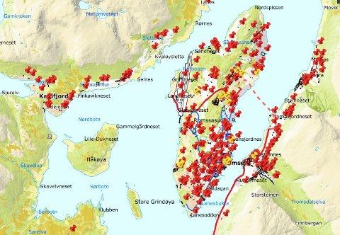Kartet viser at det graves nesten like mye som i sentrum i alle bynære områder hvor det bor mye folk.