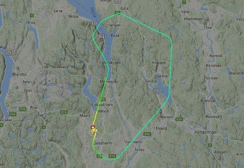 MÅTTE AVBRYTE: Slik så flyturen ut for Norwegian-flyet, ifølge nettstedet Flightradar. Skjermdump: Flightradar