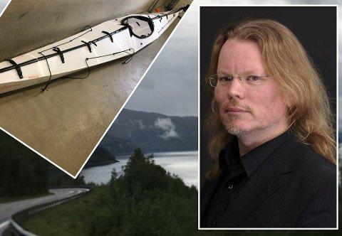 KAJAKKEN: Sist tirsdag ble kajakken til Arjen Kamphuis funnet i Skjerstadfjorden. Nå kan hans padleåre være funnet.