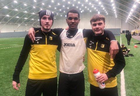RBK-GUTTER: Andreas Helmersen (fra venstre), Mikkel Konradsen Ceïde og Teodor Berg Haltvik kan bli en trøndersk trio i gult og svart denne sesongen.
