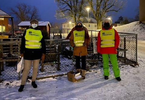 Fra venstre: Nina Lund, streikeleder Fagforbundet, tillitsvalgt Jannicke Skorstad og Mona Foldvik