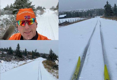 Trond Harald Sand fra Lillehammer fikk sesongens første skitur i Øyerfjellet lørdag 26. september.