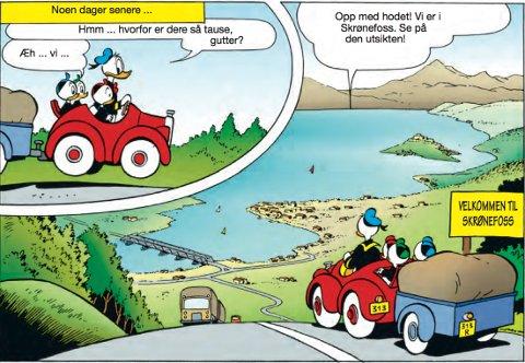 På flyttefot: Donald Duck tar med seg guttene fra Andeby til Skrønefoss.