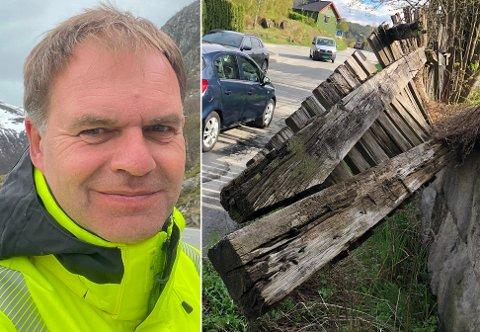 I VEIEN: I over en måned har det råtne gjerdet hengt ut mot veibanen. – Beredskapsvakta tok seg av det i helgen, sier Ulf Glasrud i Bane Nor.