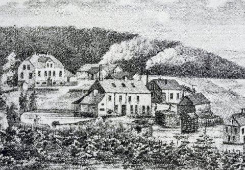 Stort anlegg: Tegning fra rundt 1875 av fyrstikkfabrikken på Markerud.