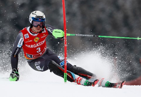Norway's Henrik Kristoffersen speeds down the course during a ski World Cup men's Slalom race, in Saalbach-Hinterglemm, Austria, Thursday, Dec. 20, 2018. (AP Photo/Gabriele Facciotti)