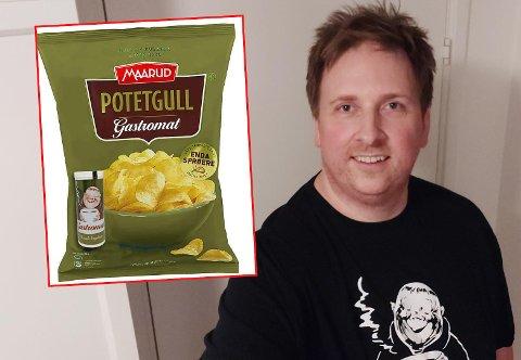 NY SMAK: Eirik Grønseth og flere andre Gastromat-frelste ønsker seg potetgull med smaken. En kompis av Grønseth har allerede posedesignet (innfelt) klart.