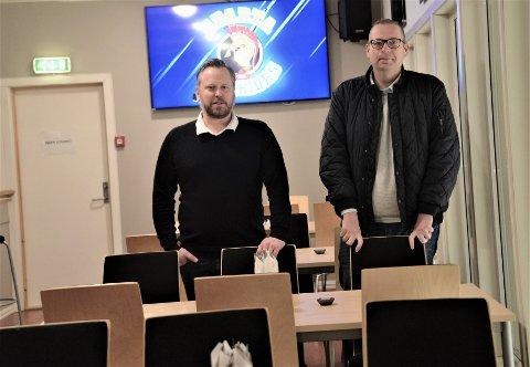 Hjelper igjen: Daglig leder i Sparta Henning Svendsen og primus motor Leif Thore Mørk regner med fullsatt sal i VIP lokale i Sparta Amfi på julaften.