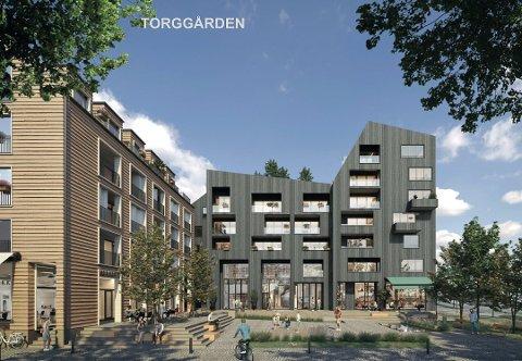 Illustrasjonsbilde av Torggården som skal bygges i Meieribyen.
