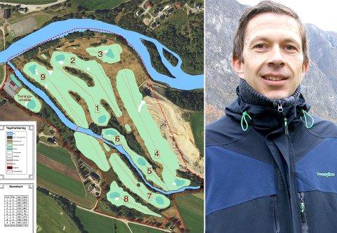 NY BANE: Den nye bana skal liggja på Ljøsne. Elva Nivla renn gjennom området og munnar ut i Lærdalselva ved Skulebrua. Dette er ein illustrasjon av korleis bana kan bli sjåande ut. Per Åke Evjestad i Lærdal golfklubb seier klubben no jobbar med finansiering.