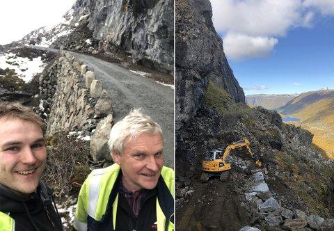 GOD JOBB: Dei som fekk jobben med å fiksa den rasutsette vegen på Sletterust var Olav O. Hæreid AS, her med Torstein og Olav Birger Hæreid.