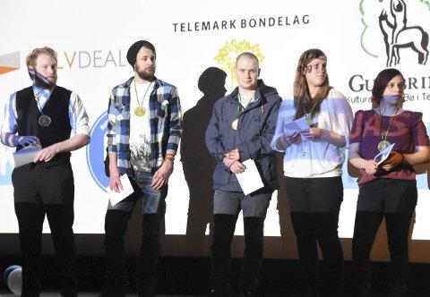 VANT: Eidar Smeby Enerstad, Joakim Holthe, Ådne Salbu, Stine Gulseth Schubert og Anne Mette Bousaha hadde den aller beste forretningsideen på innovasjonscampen til Nav Talenthuset.