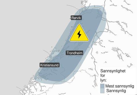 Nordmøre er innenfor området hvor det er mest sannsynlig med lyn på onsdag.