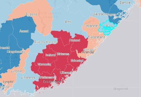 Kommuner merket med rødt forventes en befolkningsvekst på over 15 prosent de neste 30 årene.  Oransje kommuner forventes en vekst på 5 til 15 prosent, mens lyseblå kommuner er forventet et folketall omtrent som i dag (pluss/minus 5 prosent), og mørkeblå er forventet en nedgang på mer enn 5 prosent.