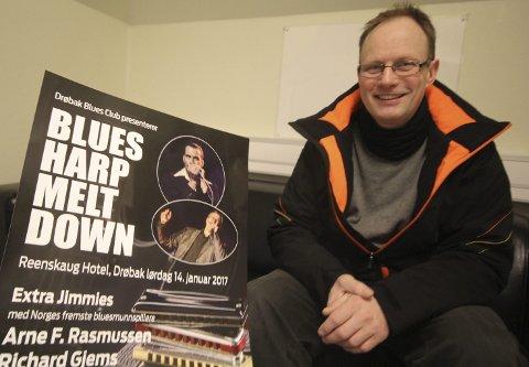 Nye konserter: Drøbak Blues Club starter året med noen av Norges beste munnspillere på scenen. – Vi satster høyt med samme og fortsetter utover våren, gliser Terje Evensen fra bluesklubben. Foto: Steinar Knudsen