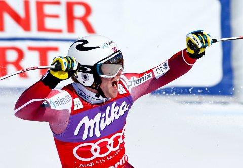 BEST: Aleksander Aamodt Kilde sikret seg torsdag sammenlagtseieren i super-G-verdenscupen, da han endte på delt andreplass i verdenscupavslutningen.