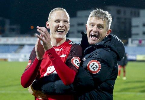 Kan Kristoffer Barmen (t.v) og trener Lars Arne Nilsen utfordre Rosenborg om seriegullet denne sesongen? Vi vil at du skal tippe hvem som vinner eliteserien, og hvem som blir toppscorer. Da er du med i trekningen av to reisegavekort på 1500 kroner.