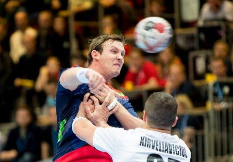 Stjørdal  20181024. Sander Sagosen under   håndballkampen mellom Norge  Østerrike.  Foto: Vidar Ruud / NTB scanpix