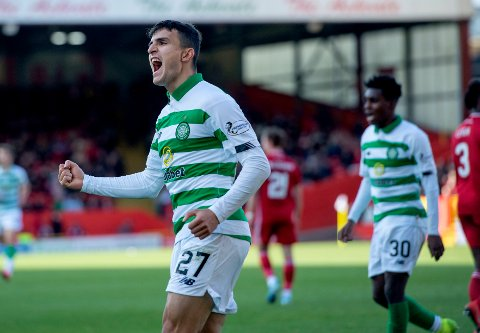 Celtic's Mohamed Elyounoussi celebrates after scoring the fourth goal during the Scottish Premiership soccer match between Celtic and Aberdeen, at Pittodrie Stadium, Aberdeen, Scotland, Sunday, Oct. 27, 2019. (Ian Rutherford/PA via AP)