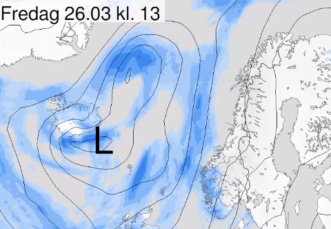 LÅGTRYKK: Eit lågtrykk som kjem inn frå Atlanterhavet vil resultere i nokre regnfulle dagar. Likevel trur meteorologen at vi kan håpe på ei betre påske.