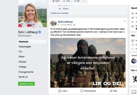 Sylvi Listhaug har slettet dette innlegget fra sin offentlige facebookprofil. Listhaug slettet bildet etter påtrykk fra bildebyrået AP, som ikke tillater bruk av sine bilder i politiske kampanjer. Foto: Skjermdump Facebook / NTB scanpix