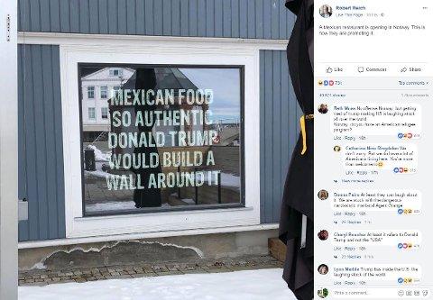 MARKEDSFØRING: Tidligere minister i USA, Robert Reich, la tirsdag ut et bilde fra Fredrikstad på sin Facebookside. Der har han 2,5 millioner følgere, og innlegget har onsdag kveld fått over 1.500 kommentarer og 50.000 delinger.