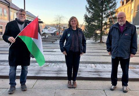 Knut-Jarl Rødje, Eva-Lotta Sandberg og Atle Sommerfeldt skal delta på mandagens Palestina-arrangement i Fredrikstad.