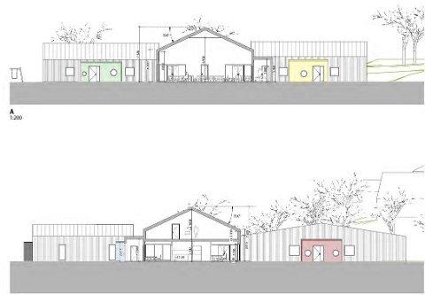 FERDIG NESTE ÅR: Den nye barnehagen i Rolvsøy skal etter planen stå ferdig neste år. Slik ser arkitekten for seg at fasaden kommer til å se ut.