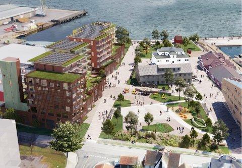 HORTEN HAVNEPARK. Sånn kan det bli i havna i Horten, med boliger, noe næring og en aktivitetspark.