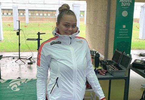 VERDENSKLASSE: Jenny Stene skjøt tre poeng bedre enn sin egen verdensrekord under NM på Elverum i helga.