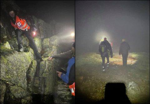 AKSJON: Røde kors henter ned to menn i tåke og yr fra Bitihorn.