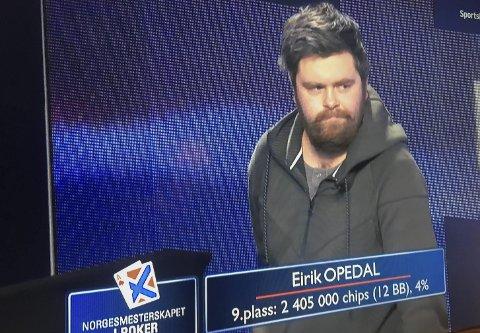 På TV: Pokerinteresserte oddinger og hardinger kunne følge Eirik Opedal sin veg til finalen på TV2 Sportskanalen.foto: privat