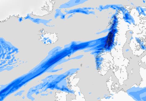 """Dette fenomenet kaller vi en """"atmosfærisk elv"""", skriver Meteorologene på Twitter."""