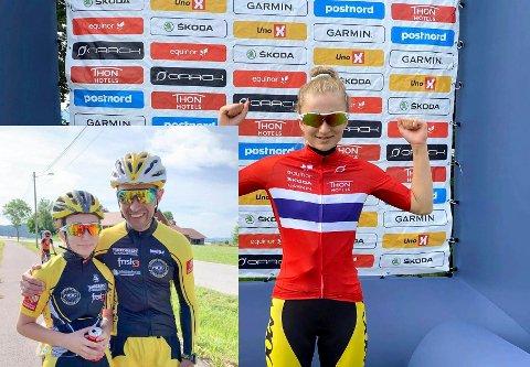 DOBBELTMESTER: Regine Solhaug Hansen vant både tempo og fellesstart i UM K13. Her er hun sammen med en stolt pappa Yngvar Alexander Hansen etter søndagens fellesstart.
