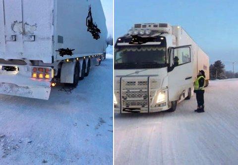 INTENSIVERER KONTROLLEN: Etter 16. januar har det vært hyppige kontroller av vogntog på grenseovergangene. Her har Statens vegvesen stoppet et kjøretøy med dårlige dekk i Neiden.