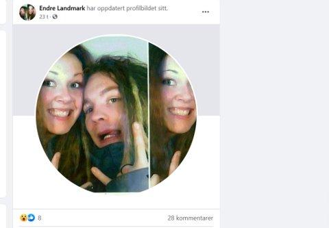 ENDRET BILDE: Dette profilbildet ble endret på Endre Landmarks Facebook-profil i desember i fjor. Politiet har gitt opp å finne ut hvordan og hvorfor det skjedde. Skjermdump