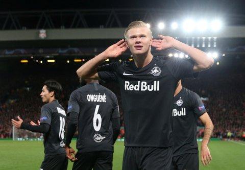 BRENNHET: Spisskometen fra Jæren fortsetter der han slapp og scoret 3-3-målet for Salzburg i møtet med Liverpool.