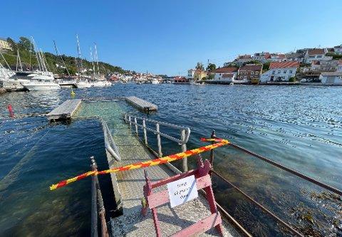 STENGT: Badebingen på Gunnarsholmen er sperret av.