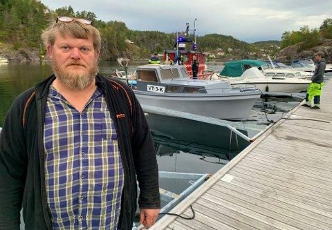 BÅTBRANN: Olaf Rein-Bohlin opplevde alle fiskeres mareritt fredag morgen.