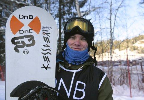 I AKSJON: Herman Møller Svendsen var i dag i aksjon i brettcrossløypa i Hafjell.